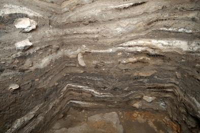 Cueva de El Mirador: corte estratigráfico de los niveles neolíticos relacionados con la actividad ganadera donde se pueden observar los lentejones de ceniza derivados de la quema del estiércol