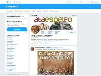 Perfil de la Fundación Atapuerca en Twitter