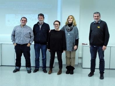 Tribunal de la tesis doctoral de Isabel Expósito. De izda. a dcha.: Pérez-Díaz, Burjacs, Expósito, Fernández-Jalvo y Riera.
