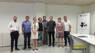 Tribunal de la tesis doctoral de Pedergnana. De izquierda a derecha: A. Evans, A. Ollé (codirector), A. Pedergnana, B. Márquez, A. Pawlik, A. Borel, M.H. Moncel (codirectora) y R. Sala