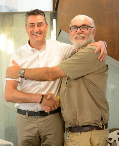 Alberto Martínez, director general de Hispanofil y Eudald Carbonell, vicepresidente de la Fundación Atapuerca