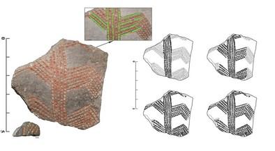 Fragmento cerámico hallado en El Portalón de Cueva Mayor (sierra de Atapuerca, Burgos)