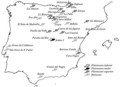 Mapa de los yacimientos donde se han encontrado restos de castores