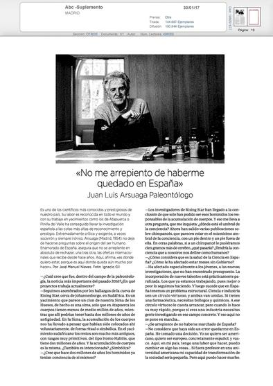 Entrevista a Juan Luis Arsuaga publicada el pasado 30 de enero en el suplemento especial del diario ABC
