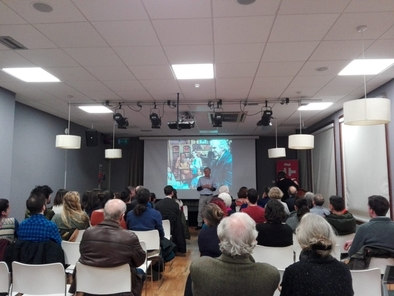 Juan Luis Arsuaga, durante la conferencia que impartió en el Instituto Cervantes de Dublín (Irlanda).