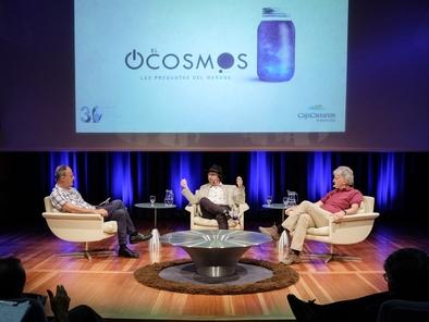 Antonio Mampaso, Lawrence Krauss y Juan Luis Arsuaga durante el debate del pasado 21 de septiembre