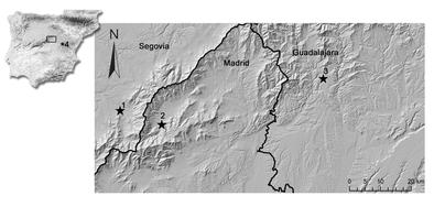 Modelo digital del terreno donde se ubican los yacimientos excavados en la actualidad (1: Valle del Tejadilla; 2: Pinilla del Valle; 3: Cueva de los Torrejones; 4: Cueva de Juan Labranz).